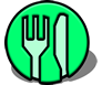 Public domain dining symbol by Seamus Mcgill, released via Wikimedia Commons